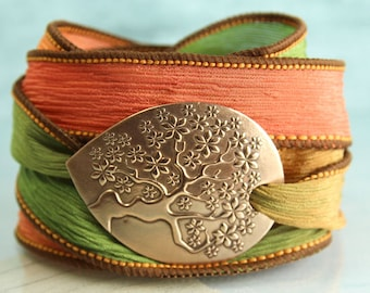 Tree-of-Life Silk Wrap Bracelet  Botanical Jewelry Bronze yggdrasil bracelet Tree of Life Ribbon Bracelet Best Friend Gift Cuff Teacher Gift