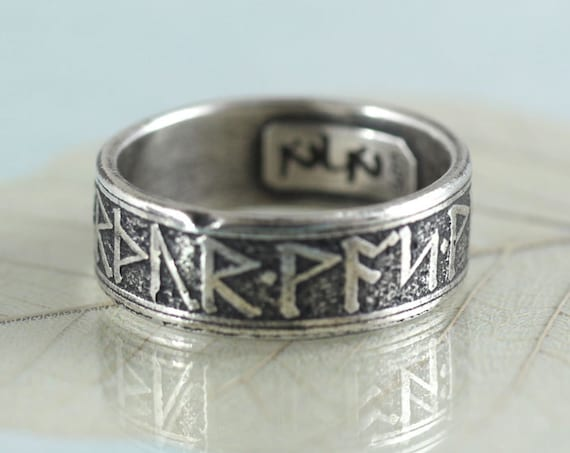 Silver Rune Ring - Rustic Viking Treasure