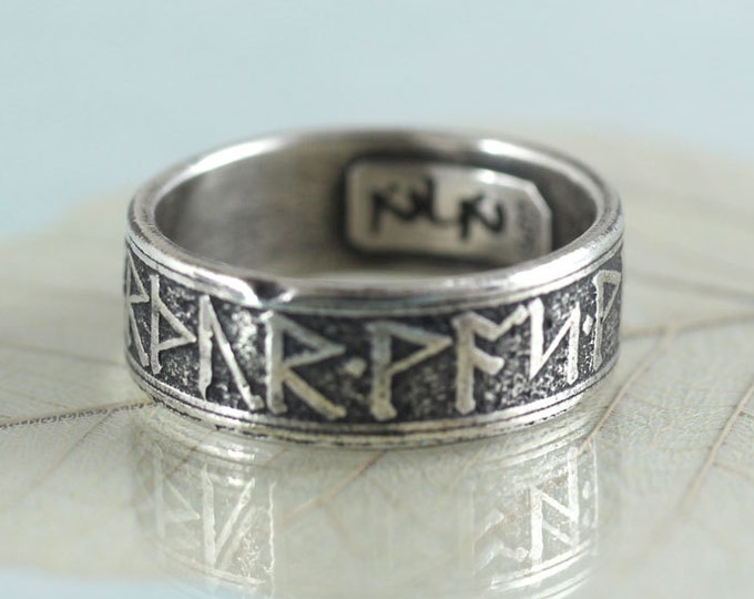 Silver Rune Ring - Rustic Viking Treasure
