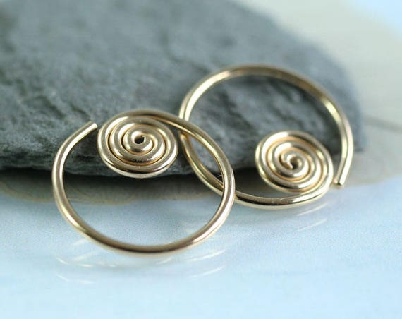 Spiral Sleeper Hoops - Celtic Earrings - 14k Gold Fill - 14 mm Diameter | Gold Spiral Earrings | Gold Sleepers