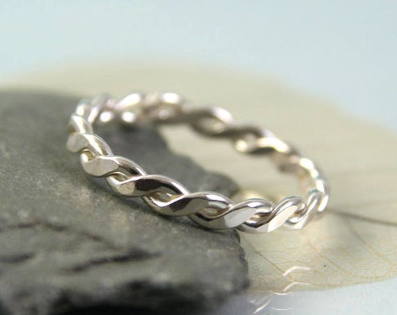 Silver Twist Ring - Sterling Wire Braid 1.2mm Wire Stacking Ring