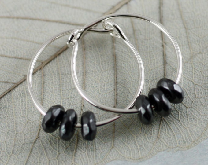 Silver Sleeper Hoops with Blood Stone Beads