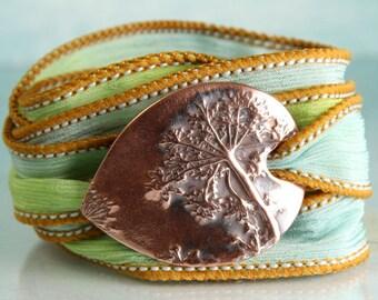 Ribbon Wrap Bracelet with Decorative Copper Dandelion | Cuff Bracelet, Ribbon Bracelet | Silk Wrap | Gift for Mum