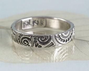Silver Art Nouveau Ring  Swirl Pattern