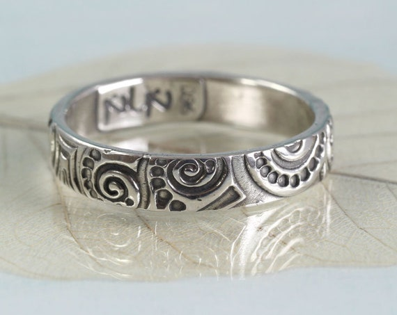 Silver Art Nouveau Ring  Swirl Pattern