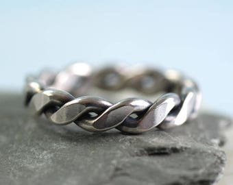 Celtic Silver Ring Twisted 2mm Wire  Chunky Mens Ring Thumb Ring