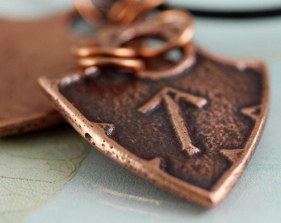 Copper Rune Necklace - Shield Viking Arrow - Choose a Rune | Viking Runes | GIft for Men | Rune Pendant | Copper Jewelry | Viking Jewellery