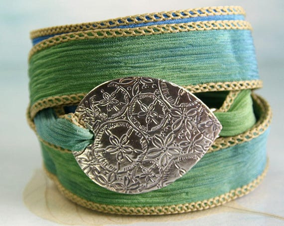 Beach Bracelet with Sand Dollar Pattern Silver on Silk Wrap