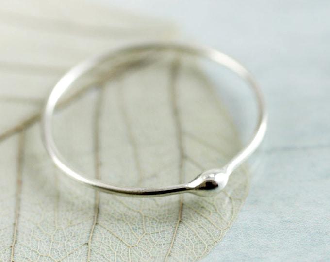 Minimalist Silver Dot Ring Stacking Ring