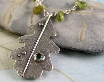 Oak Leaf Silver Pendant | Unique Peridot Necklace | Silver Necklace | August Birthstone | Silver Oak Leaf | Gift for her | Birthday gift