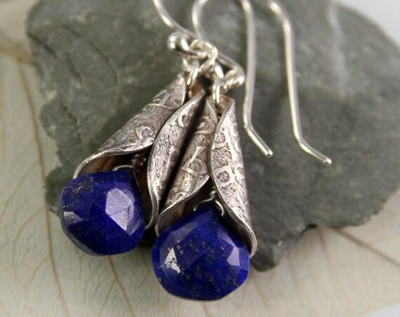 Lapis Lazuli Drop Earrings Wrapped in Elven Silver