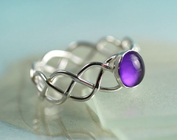 Silver Amethyst Braid Ring