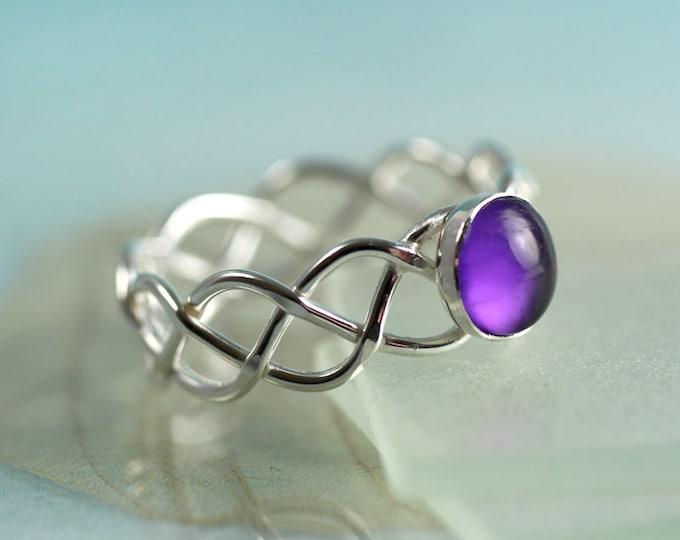 Silver Amethyst Braid Ring