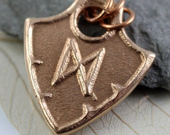 Bronze Shield Pendant with Viking Rune