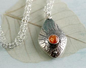 Fern Spiral Silver Pendant with Sunstone Gem - Drop necklace | Woodland Necklace | Fern Leaf Jewellery