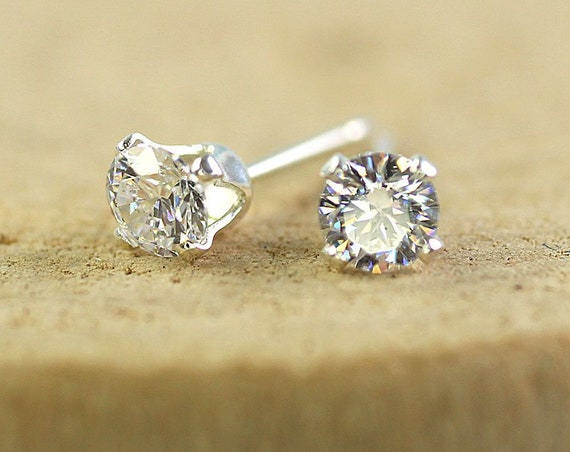 Silver Gem Studs with Sparkling CZs 4 mm Stones Sterling Silver Earrings