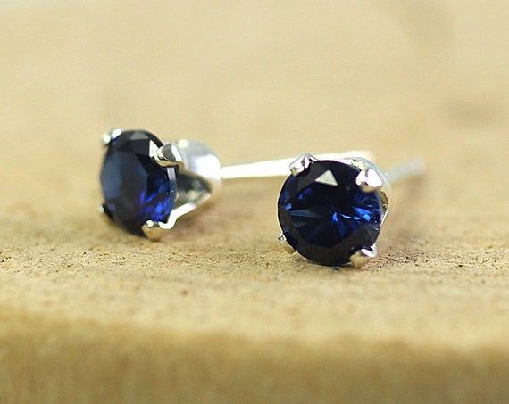 Silver Sapphire Studs Sparkling 4 mm Stones Sterling Silver Earrings