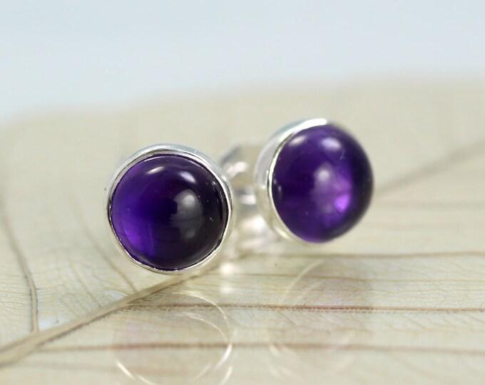 Silver Stud Earrings Amethyst Gemstones