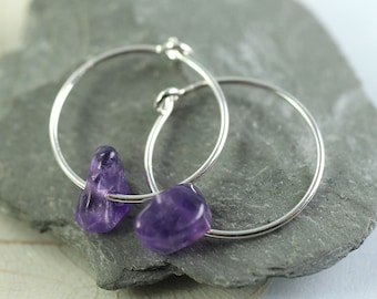 Silver Hoops with Amethyst Nuggets  February Birthstone Purple Gems Gift Sterling Silver Earrings