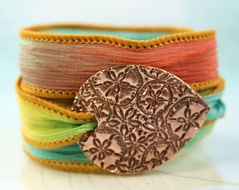 Silk Wrap Bracelet  Mermaid Copper