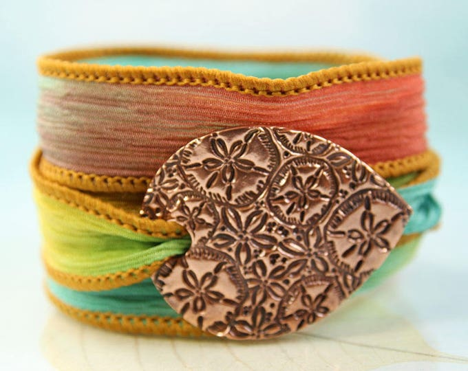Silk Wrap Bracelet Mermaid Copper Sand Dollar Pattern