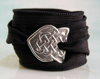 Silver Celtic Bracelet with Braid Pattern on Silk Ribbon