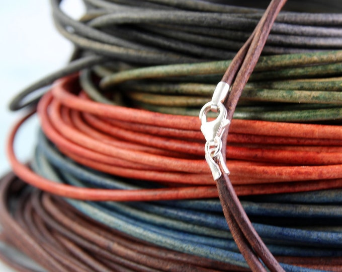 Leather Necklace with Sterling Silver Clasp 2 mm Cord