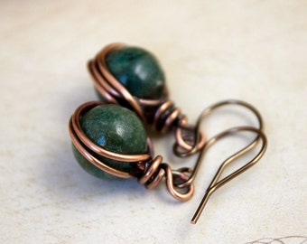 Copper & Agate Earrings Woodland Jewellery