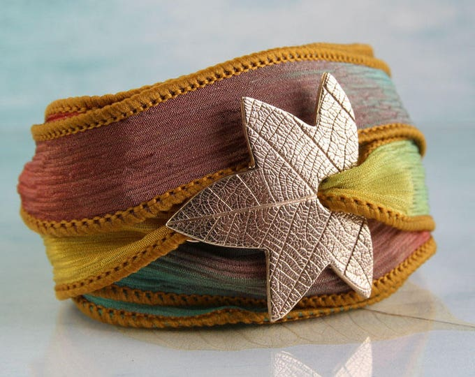 Bronze Sycamore Leaf Bracelet on Silk Ribbon Wrap Around