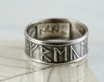 Personalized Viking Rune Ring Sterling Silver Band