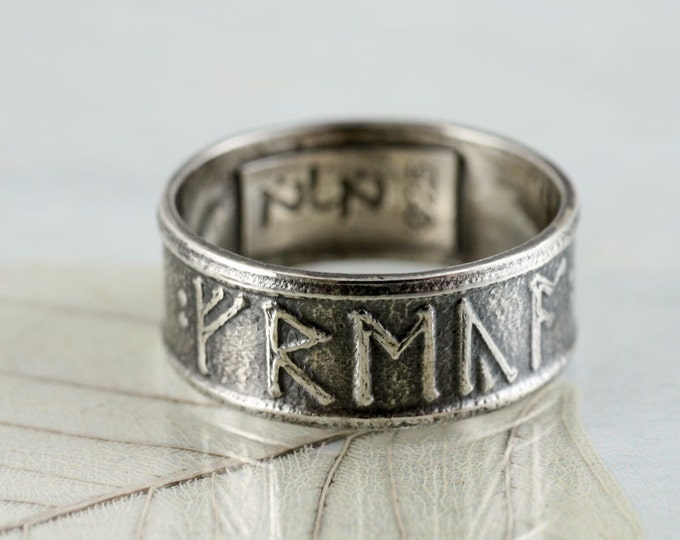 Featured listing image: Personalized Viking Rune Ring Sterling Silver Band