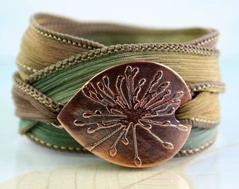 Copper Flower Bracelet  Silk Ribbon Wrist Wrap Cuff