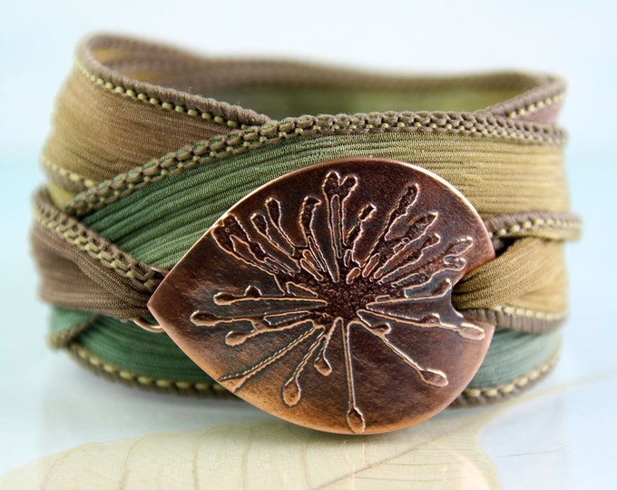 Featured listing image: Copper Flower Bracelet  Silk Ribbon Wrist Wrap Cuff