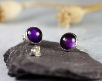 Silver Stud Earrings Amethyst Gemstones