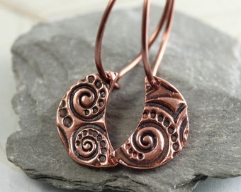 Celtic Copper Moons on Sleeper Hoops, Copper Earrings, Hoop Crescent Moon Dangles, Dangle Earrings, Copper Jewellery, Copper Anniversary