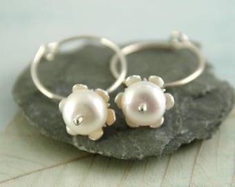 Pearl Dangle Hoops Silver Sleeper Earrings with White Flowers