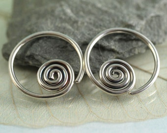 Spiral Sleeper Earrings Silver Hoops 14 mm