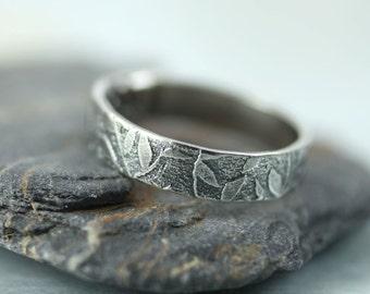 Silver Leaf Ring Leaves Woodland Band