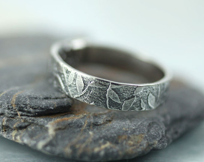 Silver Leaf Ring Leaves Woodland Band