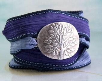 Silver Yggdrasil Bracelet with Handmade Silk Cuff
