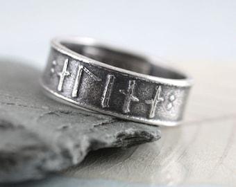 Rune Ring Silver Band - Custom Runes of Your Choice