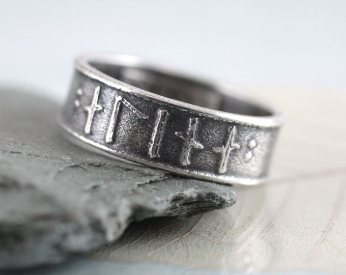 Rune Ring Silver Band - Custom Runes of Your Choice