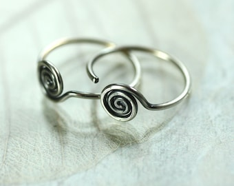 Silver Sleeper Hoops with Spiral Detail