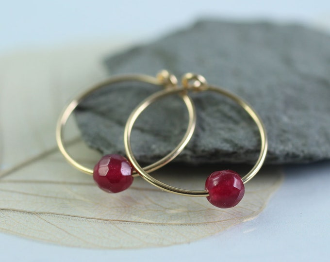 Slim Gold Hoops with Plum Jade Beads  14 ct Gold Fill
