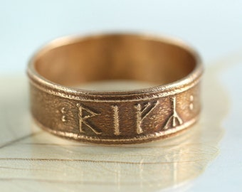 Custom Rune Ring in Golden Bronze