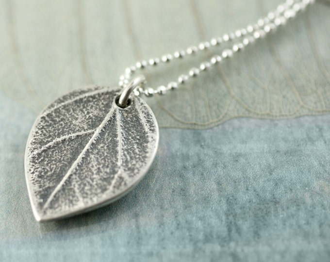 Tiny Silver Leaf Necklace | Leaf Pendant with Delicate Sterling Chain | Girlfriend | Nature Necklace | Woodland Jewellery | Silver Necklace