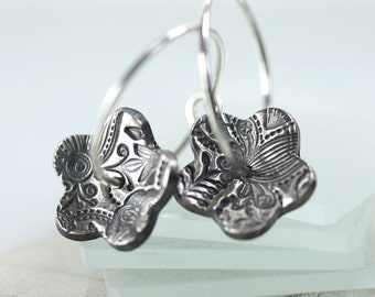 Silver Flower Earrings on Hook and Loop Hoops