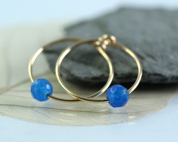 Slim Gold Hoops with Blue Jade Beads  14 ct Gold Fill