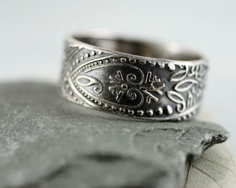 Wide Silver Band Ring - Paisley Pattern Wide Band  Oxidised Ring | Patina | Gift for Him Her