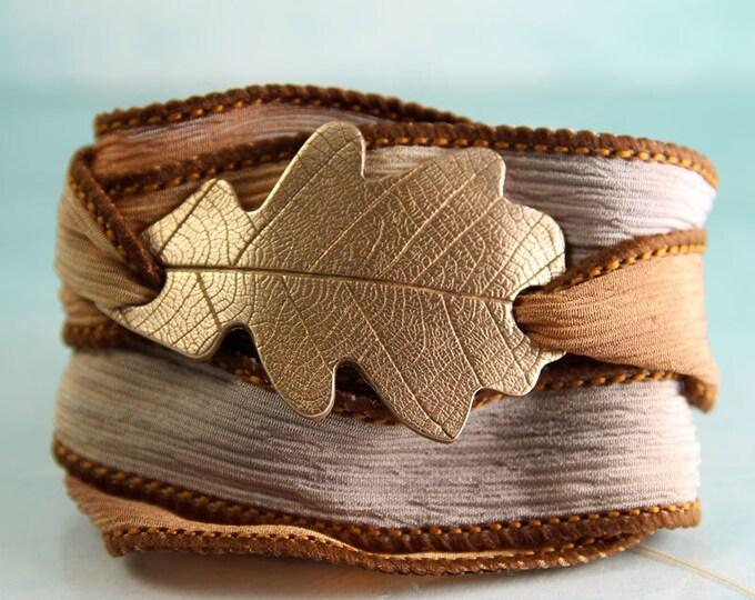 Silk & Bronze Oak Leaf Bracelet